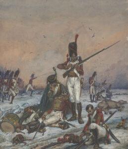 Grenadiere des 1. und 2. Schweizerreigments im Einsatz während der Schlachten bei Polozk 1812. Handzeichnung von Karl Jauslin (1842-1904), 1887.