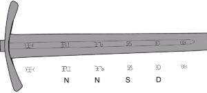 Graphisme inscription sur épée