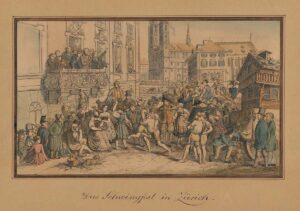 Schwingfest in Zurich, 18th century print.