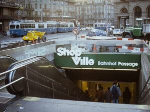 Entrance to Shopville in Zurich, 1989.