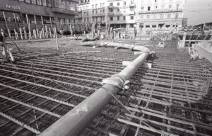 Construction site under the station forecourt, 1967.