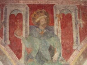Sigismund von Burgund. Fresko in der Dreifaltigkeitskirche (Konstanz), entstanden zwischen 1417 und 1437.