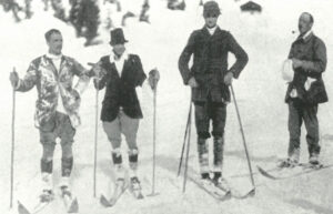 The starters line up for the first Alpine ski race in 1911.