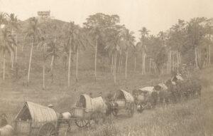 Fotografie eines Transportkonvois der niederländischen Kolonialarmee in Aceh, ca. 1880