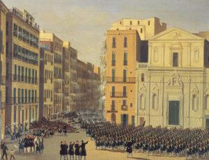 Gefecht des Gefechts in Neapel, 1848. Der Künstler ist anonym.