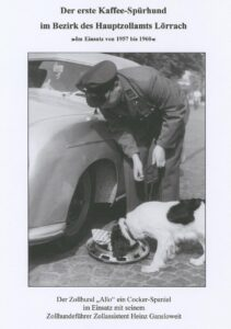 'Allo' the coffee sniffer dog in action. Reproduced from the chronicle of the Hauptzollamt (main customs office), Lörrach.