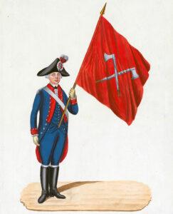 Enseigne d'un régiment de la ville de Bienne, vers 1798.