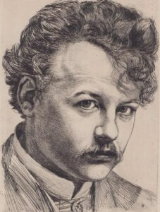 Autoportrait de Karl Stauffer, 1885.