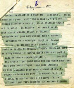 Telegram to Federal President Eugène Ruffy, 10 September 1898.