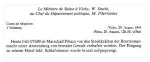 Télégramme de Walter Stucki au conseiller fédéral Pilet-Golaz concernant l'arrestation du maréchal Pétain le 20 août 1944.