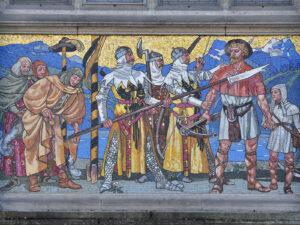 Mosaïque murale sur l'aile de la gare du Musée national Zurich. Hans Sandreuter, 1901.