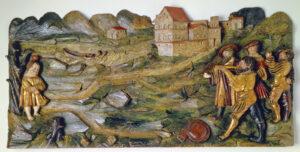 Sculpture en relief du coup de pomme de Tell, probablement Lucerne vers 1523.