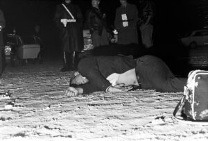 The body of the attacker Abdel Mohsen Hassan at the scene of the crime on 18 February 1969.