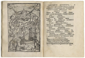 """Illustrated two-page spread from More's book """"On the Best State of a Republic and on the New Island of Utopia"""", 1518."""