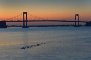 Throgs Neck Bridge in New York, completed in 1961.