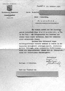 Rejet par les autorités de Thurgovie de la demande d'entrée d'Elise Wollensack, 1934.