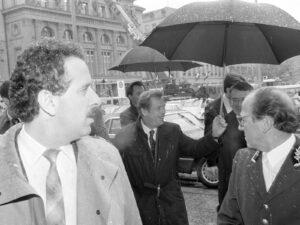 Czechoslovak President Václav Havel arrives in Bern in November 1990.