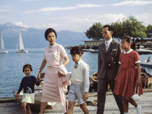 Bhumibol and Sirikit strolling through Lausanne with their children in 1960.