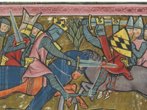 A knight's weapon of first choice was always his sword. Image from the world chronicle of Rudolf von Ems, around 1300.