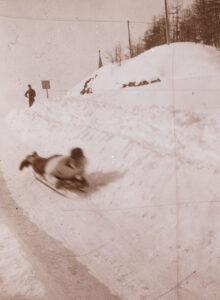 Toboggan pilot on the upper part of the Cresta Run, 1902.