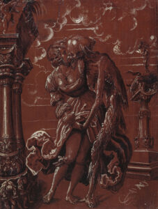 La mort en tant que soldat embrasse une jeune femme (face arrière), 1517.