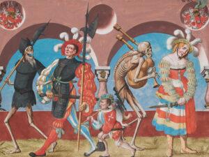 Danse macabre. Extrait de la copie de l'original de Niklaus Manuel sur le mur du cimetière du couvent dominicain de Berne.