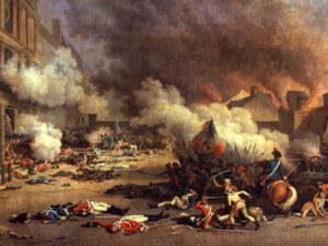 Der Tuileriensturm am 10. August 1792. Im Vordergrund tote Schweizergardisten. Gemalt von Jean Duplessis-Bertaux.