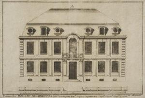 Entwurf von Domenico Trezzini einer typischen Fassade eines zweistöckigen Hauses entlang des Newa-Damms, um 1717.