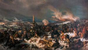 Überquerung der Berezina im November 1812. Gemälde von Peter Hess, 1844.