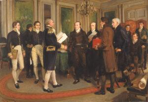 Die Unterzeichnung des Vertrags von Gent im Dezember 1814.