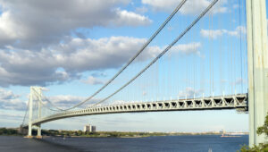 Verrazzano-Narrows Bridge in New York, completed in 1964.