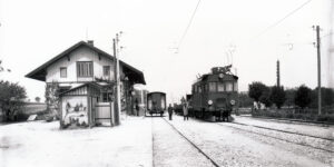 Auf der Versuchsstrecke Zürich Seebach-Wettingen testete die Maschinenfabrik Oerlikon (MFO) mit der Lokomotive Ce 4/4 II den elektrischen Betrieb mit Einphasenwechselstrom.