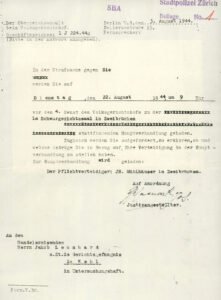 Vorladung zur Gerichtsverhandlung 1944.