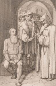 Waldmann, enchaîné à une pierre dans la tour de Wellenberg, entend sa condamnation à mort. Gravure de 1815.