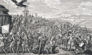 Hans Waldmann est fait chevalier après la bataille de Morat. Gravure de 1741.