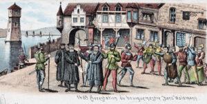 L'arrestation du maire Hans Waldmann. Carte postale historique de 1893 (détail).