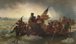 General George Washington bei der Überquerung des Delaware am 26. Dezember 1776