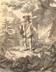 Wilhelm Suter (1806–1882), Die Franken in Unterwalden, Holzschnitt, vor 1882.