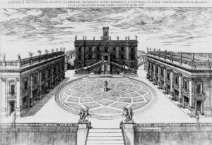 Michelangelo's design for the Capitoline Hill, where the Capitoline Museums are now located. Engraving by Étienne Dupérac, 1568.