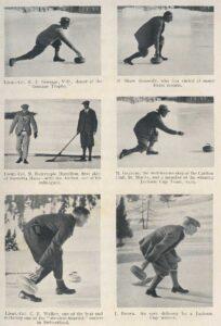 Präsentation der curling personalities in Arthur Noel Mobbs' 'Curling in Switzerland' von 1929: Alles noble Herren aus Grossbritannien.