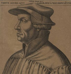 The Protestant reformer Zwingli on a 16th century print.