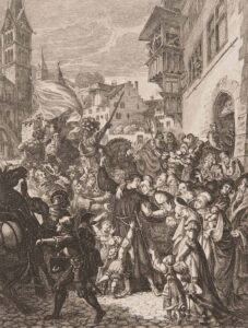 Zwingli bids farewell to his family before the Battle of Kappel am Albis in 1531. 19th-century print.
